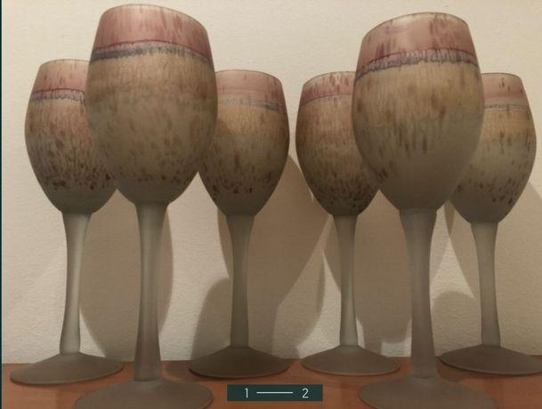 6 Copos / Cálices em vidro fosco, pintados à mão (novos)