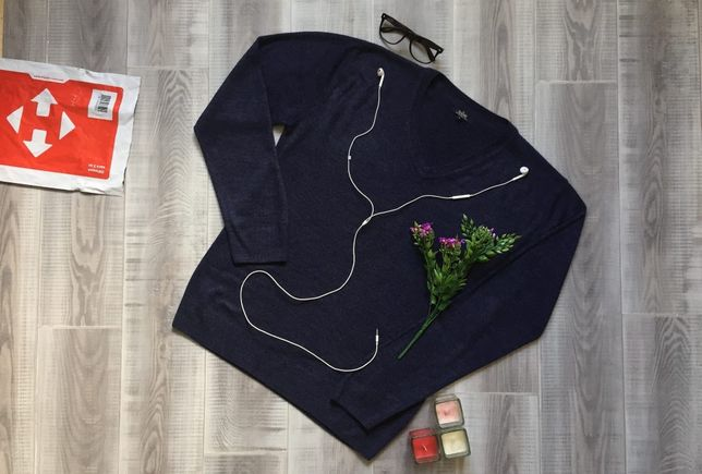 Свитер синий Easy, размер M XL, котон шерсть акрил кофта худи