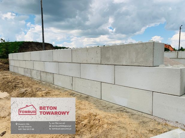 Ściana oporowa, klocki betonowe, mur oporowy, bloki betonowe