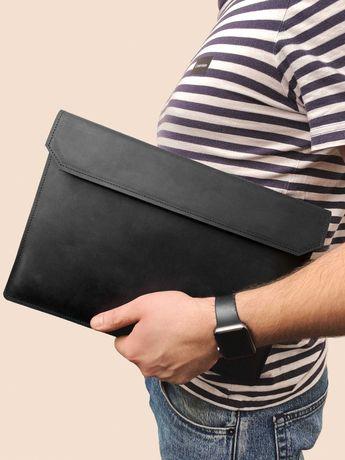 Кожаный чехол для ноутбука MacBook Air и Pro Folder черного цвета
