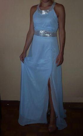 vestido comprido de cerimonia em chiffon e lantejoulas