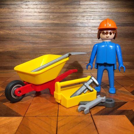 Playmobil Operário com carrinho de mão e ferramentas