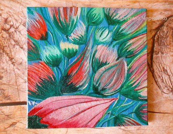"Картина акрилом ""Цветы в саду 2 "" 10Х10см"