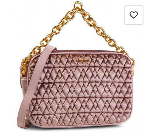 Furla Velvet Crossbody Rosa różowa torebka ze złotym łańcuchem welur
