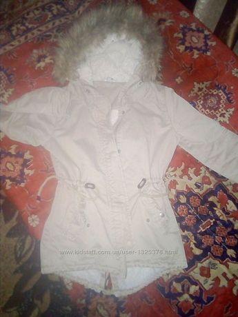 Куртка парка на девочку 40 42 размер 150 160