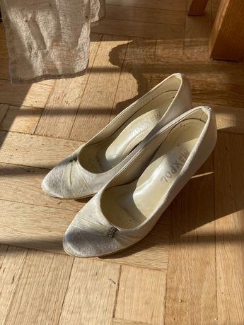 Buty ślubne czółenka 37 ecru