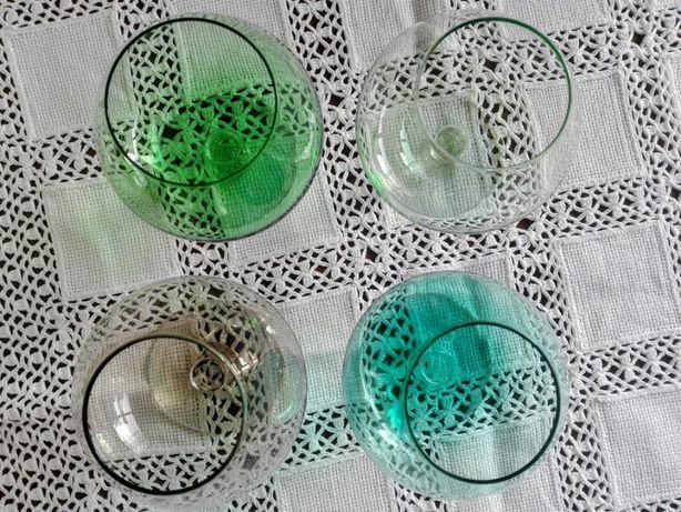 4 Copos Vidro Colorido com pé para Conhaque ou Brandy
