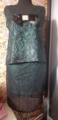Шикарный костюм юбка и блуза бант гипюр 48р гипюр + шелк Армани