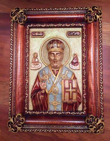 Икона деревянная резная Святого Николая Чудотворца