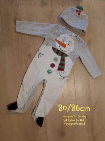 1zł wysyłka - strój bałwanka świąteczny święta Mikołaj 80cm 86cm
