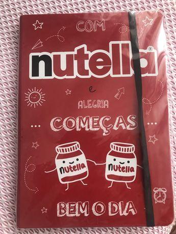 Caderno Nutella ainda com plástico