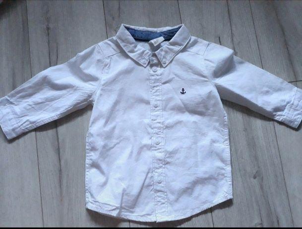 Biała Koszula chłopięca długi rękaw kołnierzyk H&M 74