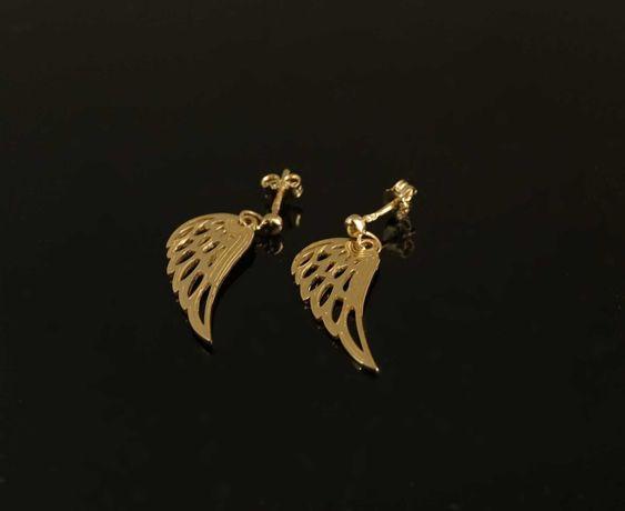 Złoto 585-złote kolczyki wiszące celebrytki skrzydła anioła