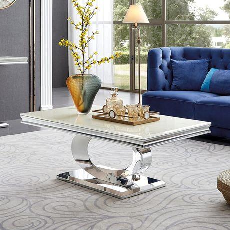 Ława glamour Buffalo stal blat szklany nowoczesny stolik