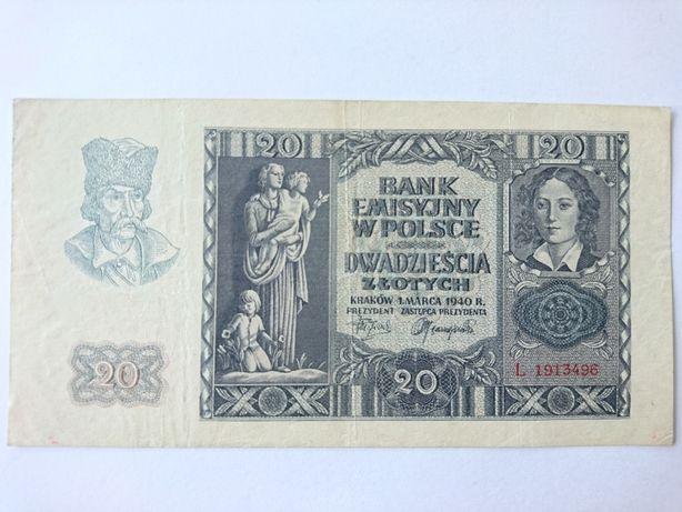 Banknot 20 złotych z 1940r.