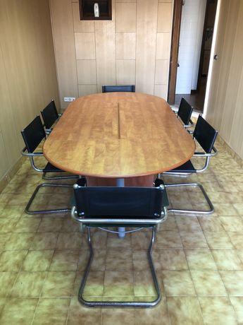 Mesa Oval de Reuniões / secretária em madeira + 6 Cadeiras escritorio