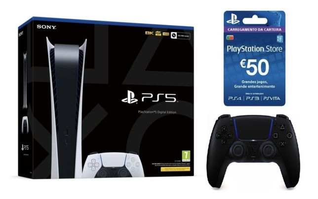 Ps5/Playstation 5 Digital + Comando Extra + Cartao PS 50€ (Selada)