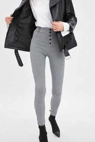 Zara spodnie pepitka wysoki stan S