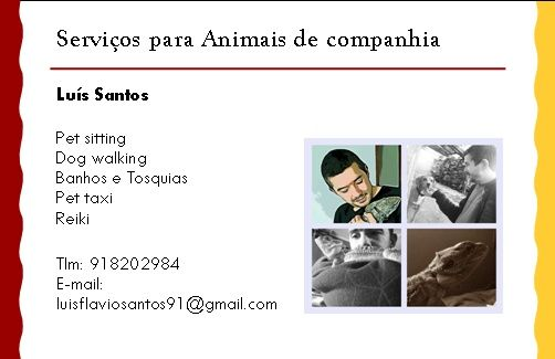 Dog walking/ pet sitting/ pet taxi/ banhos/ reiki