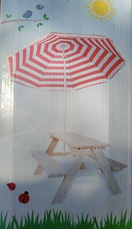 Stolik drewniany z parasolem dla dzieci NOWy