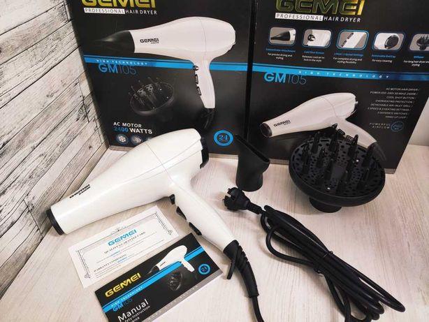 Фен для укладки и сушки волос Gemei GM-105 2400W, 2 скорости,3 режима