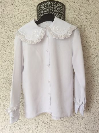 Блузка, белая блуза на рост 122-128 сига 6-8 лет