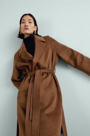 Пальто на запах zara цвет тоффи