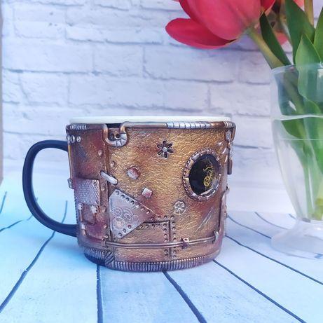 Чашка Стимпанк с декором полимерная глина