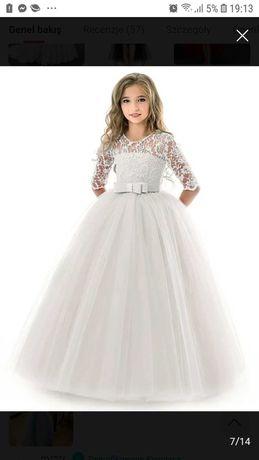 Sukienka 128 134 koronkowa tiulowa komunia weselne wizytowa