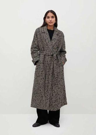 Пальто MANGO двубортное пальто с фактурной отделкой - коллекция 2021