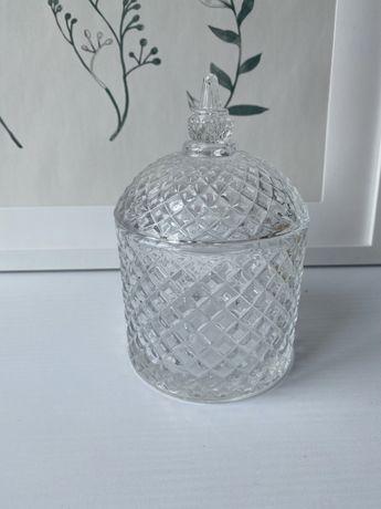 Сахарница конфетница для свечи стеклянная с крышкой бриллиант
