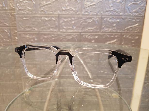 Oprawki przezroczysto czarne okulary uniwersalne nowe