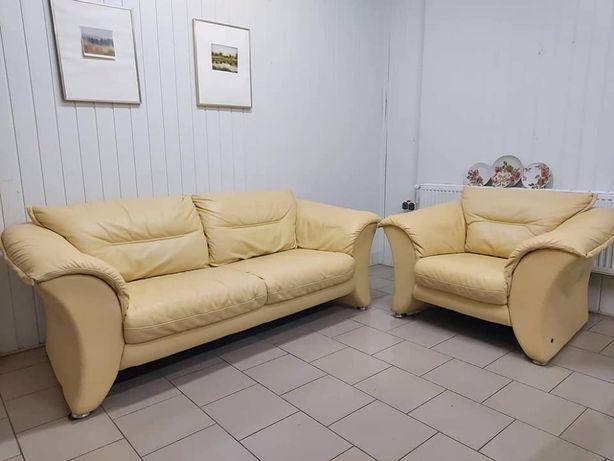 Шкіряний тримісний диван з кріслом, меблі з Європи