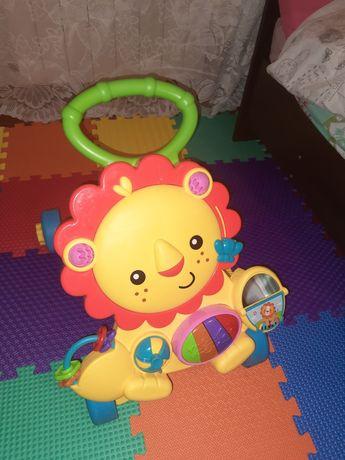 Детская коляска - ходунок с мультяшными львом
