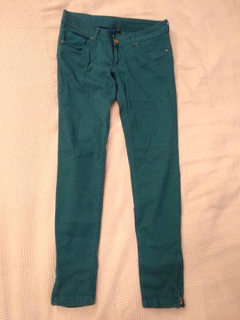 Turkusowe spodnie rurki 97% bawełna r. 36