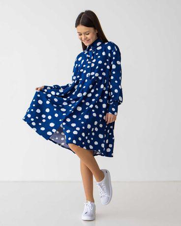 Модное платье для девочки красного и синего цвета