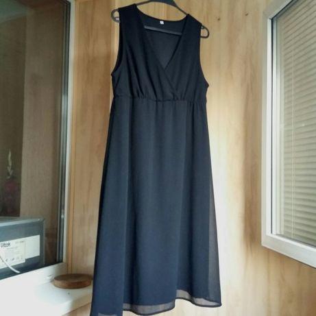 Черное шифоновое платье с завышенной талией р. 16