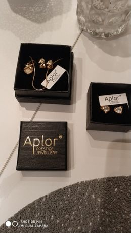 Kolczyki Aplor złote serduszka + łańcuszek
