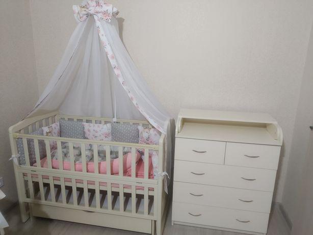 Комплект детской мебели,комод пеленатор и Кроватка, пеленальный столик