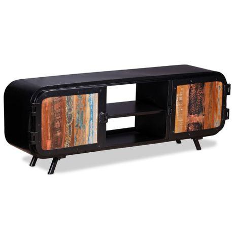 Czarna szafka RTV komoda drewno odzyskane industrialna loft