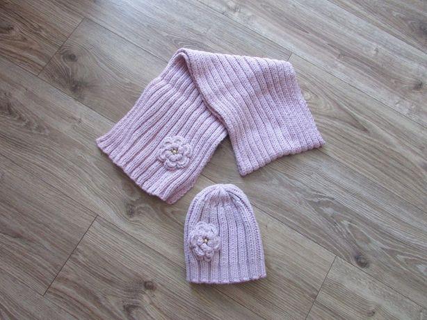 komplet zimowy czapka + szalik jasny róż