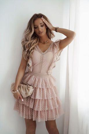 Sukienka koronkowa z tiulem r L