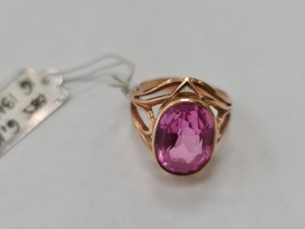 Retro! Piękny złoty pierścionek damski/ 585/ 6.10 gram/ R16/ Różowe