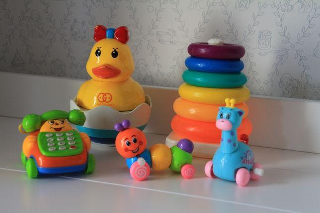 Zabawki dla malucha sorter, kaczuszka, telefon, gąsienica, żyrafa