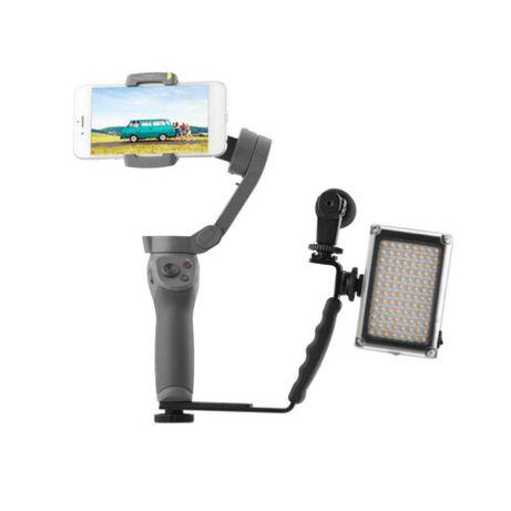 Pega em L + Suporte Microfone ou LED - Perfeito para Estabilizadores