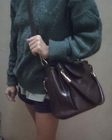 Школьная сумка под вощеную кожу коричневая