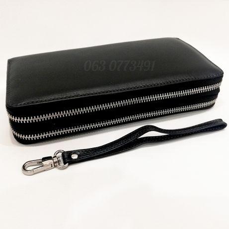 Большой мужской кожаный кошелек клатч портмоне  на две молнии 7М-1128