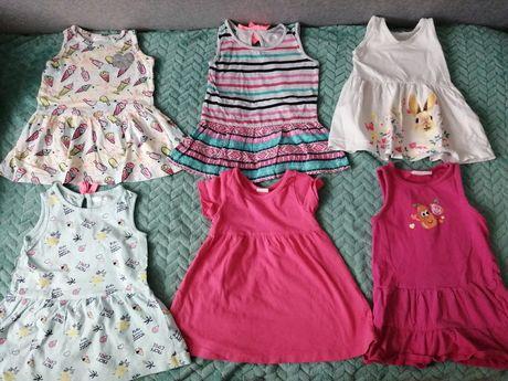 Sukienki lato 6 szt dziewczynka 9-12 mies na sztuki