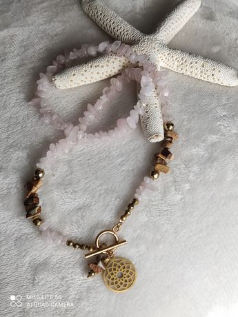 Naszyjnik z kamieni naturalnych kwarc z jaspisem handmade