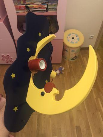 """Lampa dziecięca """"Klik  - księżyc - drewniana"""